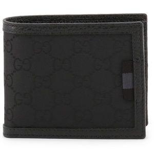 Gucci Black GG Guccissima Bifold Wallet Card Case